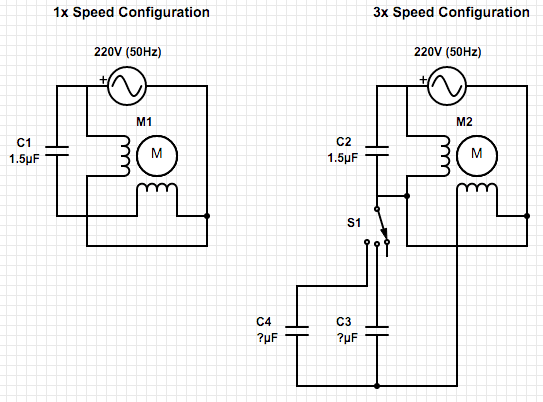 calculating the capacitor values to control ceiling fan