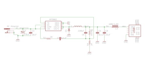 small resolution of usb charging circuit with step down ic ap5002