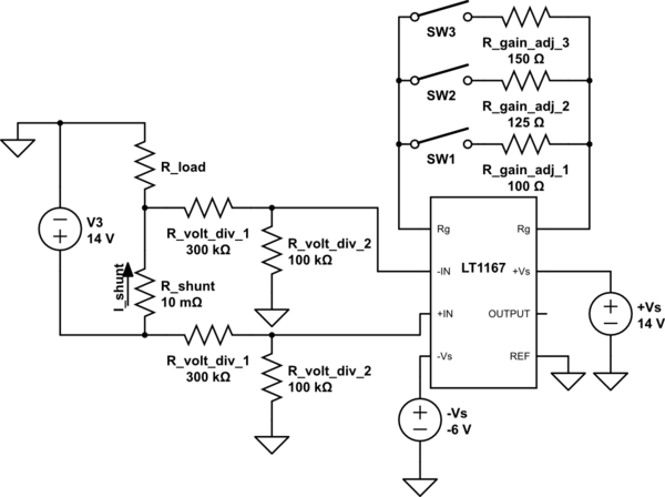 Current sensor with instrumentation amplifier (LT1167