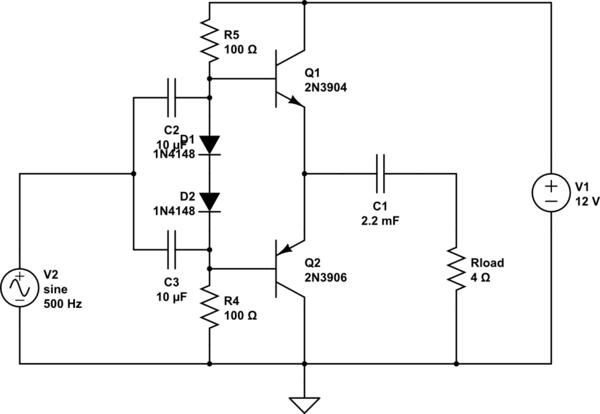 [Solucionado] Entrada de a amplificador clase AB con sesgo