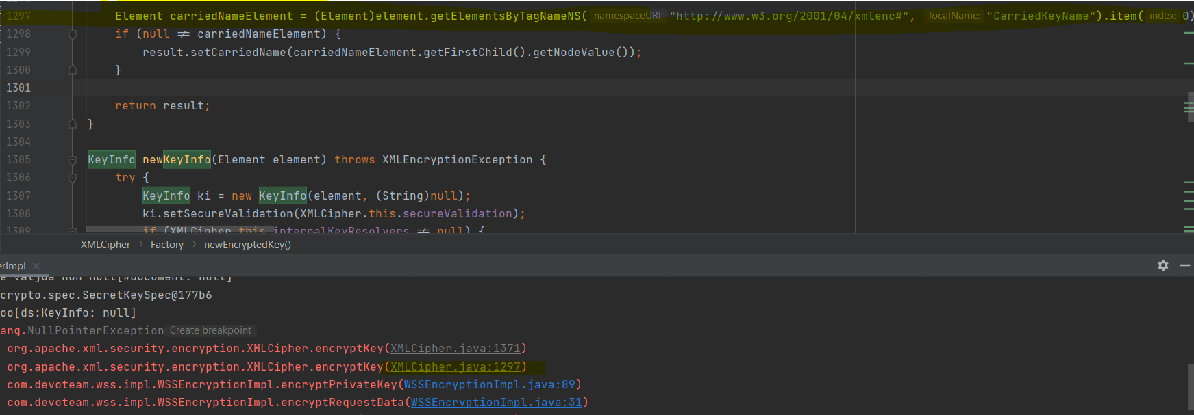 xml - XMCipher - Encrypting secret key with public key in Java - getting null pointer exception - Stack Overflow