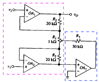 Difference Amplifier with 3 Op. Amp. How to analyze it