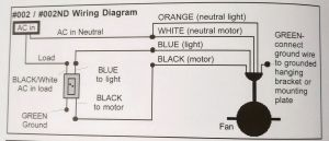 Wiring a ceiling fan with black, white, red, green in