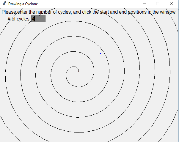 Draw a cyclone in Python with a given number of cycles