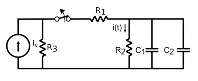 Calculate voltage and current in time dependent circuit