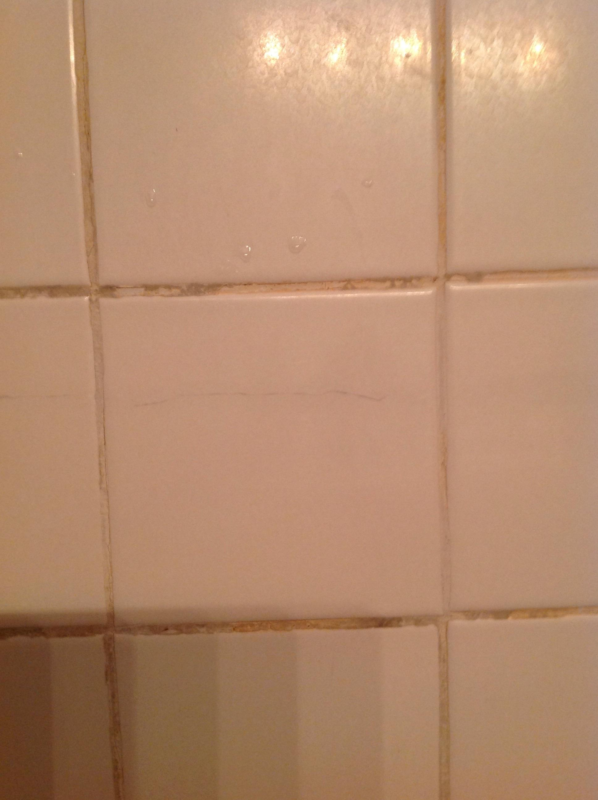 repair  Cracked bathroom tile  runs almost entire length