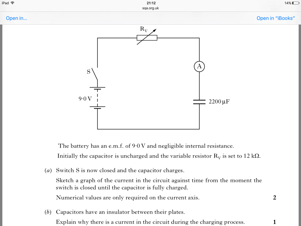 medium resolution of explaining why there is current in a circuit with a capacitor whilst the capacitor is charging