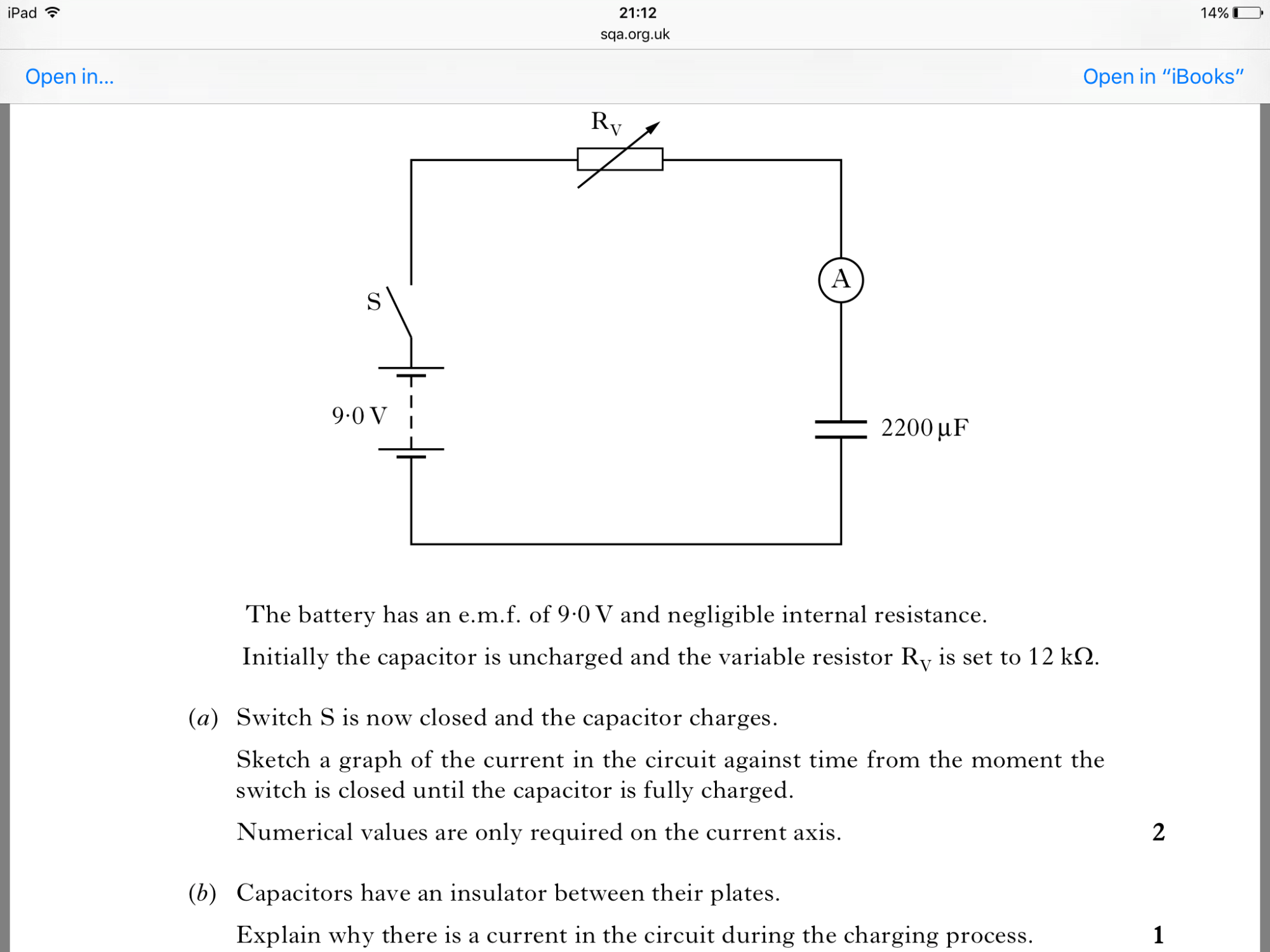 hight resolution of explaining why there is current in a circuit with a capacitor whilst the capacitor is charging