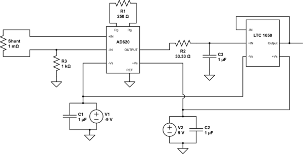 Battery current measurement with shunt resistor