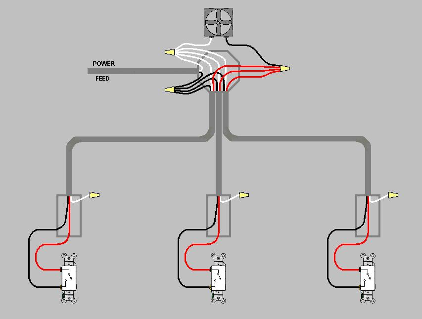 how to wire 3 separate switches to a
