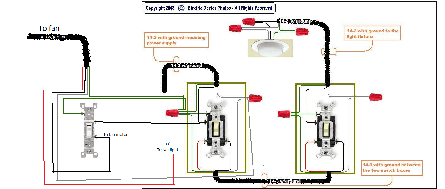 Power A Ceiling Fan Motor And Light From The