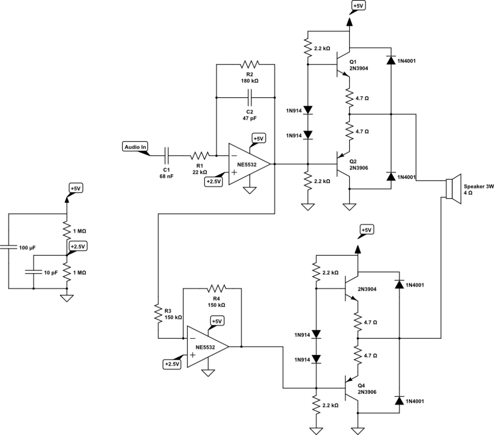 medium resolution of noisy btl audio amplifier circuit electrical engineering stack circuit schematic audio power amplifier circuit technology co ltd