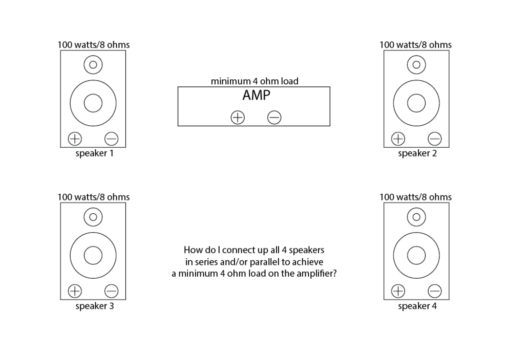 medium resolution of connect 4 x 8 ohm speakers in series and or parallel