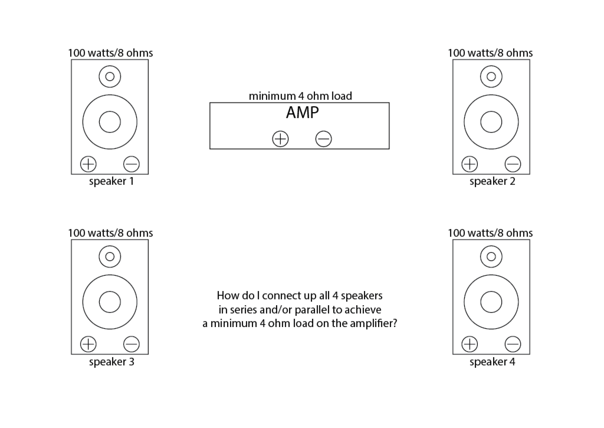 hight resolution of connect 4 x 8 ohm speakers in series and or parallel