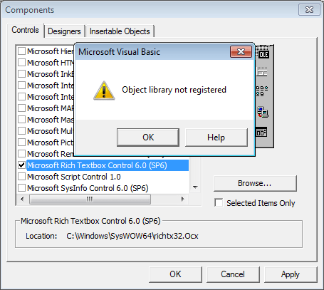 "Vb6 ""Object Library Not Registered"" When Adding"