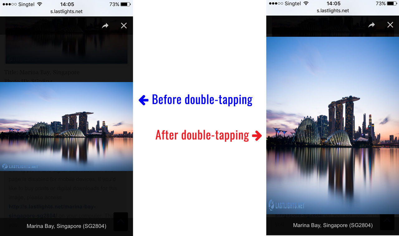 Images getting distorted on double-tapping