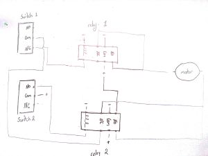 relay  limit switches to control motor direction