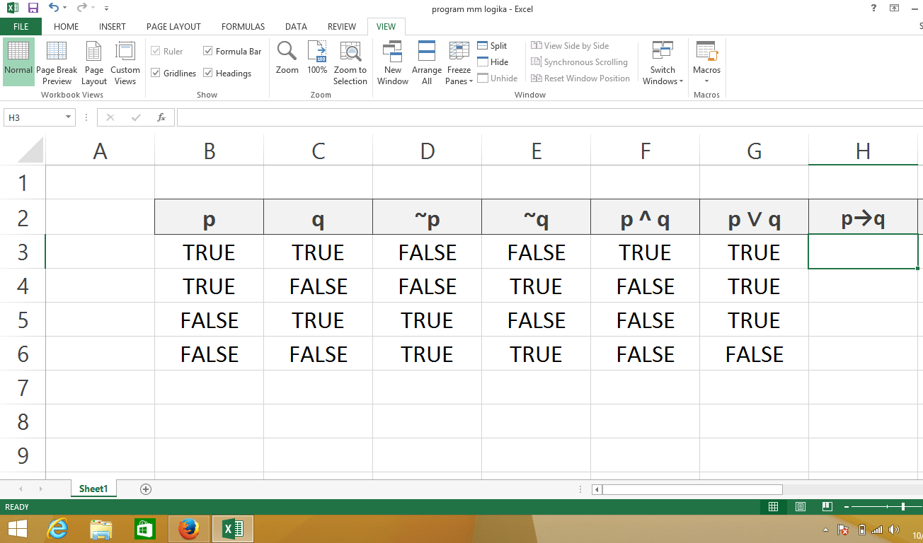 Conditional Statement Truth Table Formula On Excel
