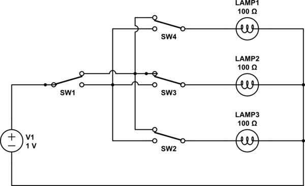 circuit diagram one bulb two switches