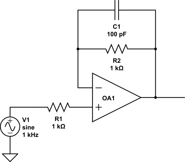 circuit diagram of non inverting amplifier 2005 dodge ram stereo wiring op amp parallel resistor and capacitor in voltage schematic
