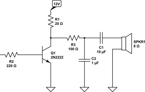 Arduino PWMを使ってスピーカーを駆動するトランジスターアンプ