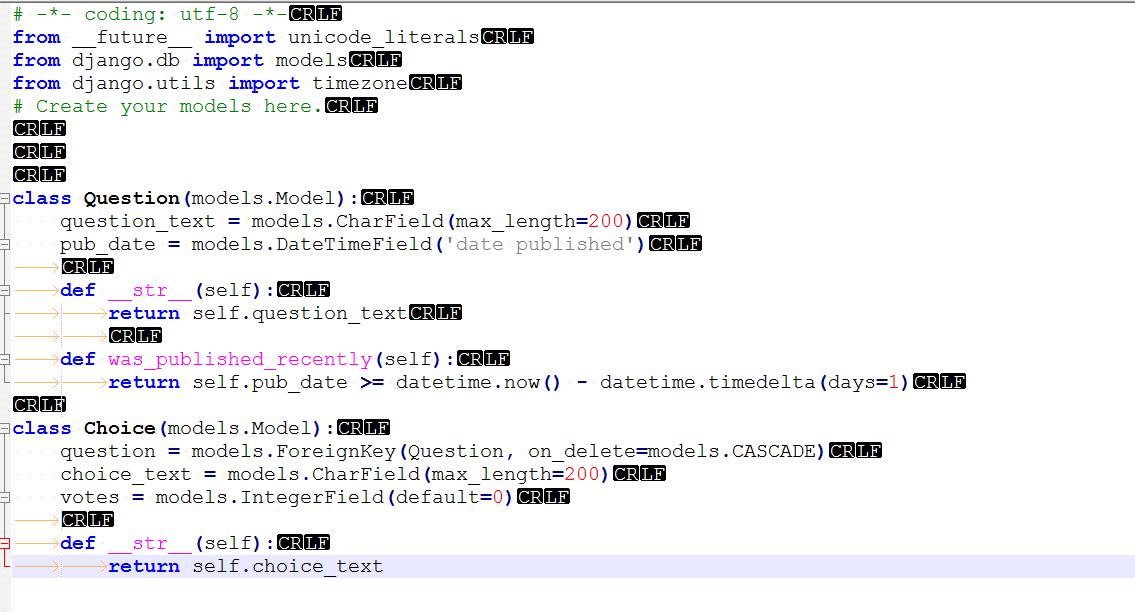IdentationError: Unexpected indent following Django Tutorial (Python) - Codedump.io