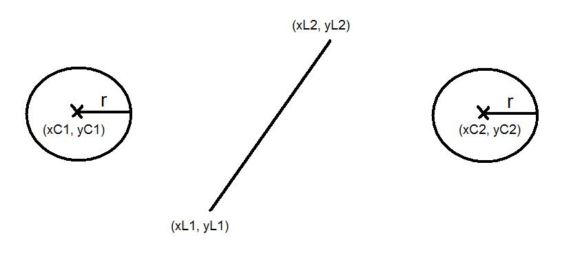 2D collision between a moving circle and a fixed line segment