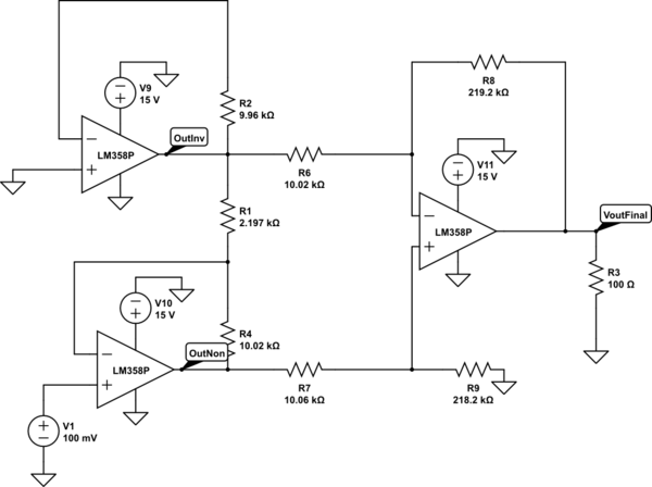 Issues with OpAmp gain and instrumentation amplifier