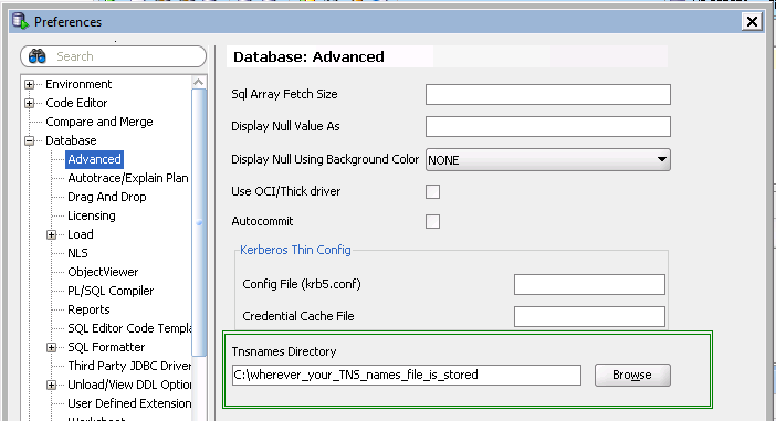 SQLDeveloper update tnsnames directory