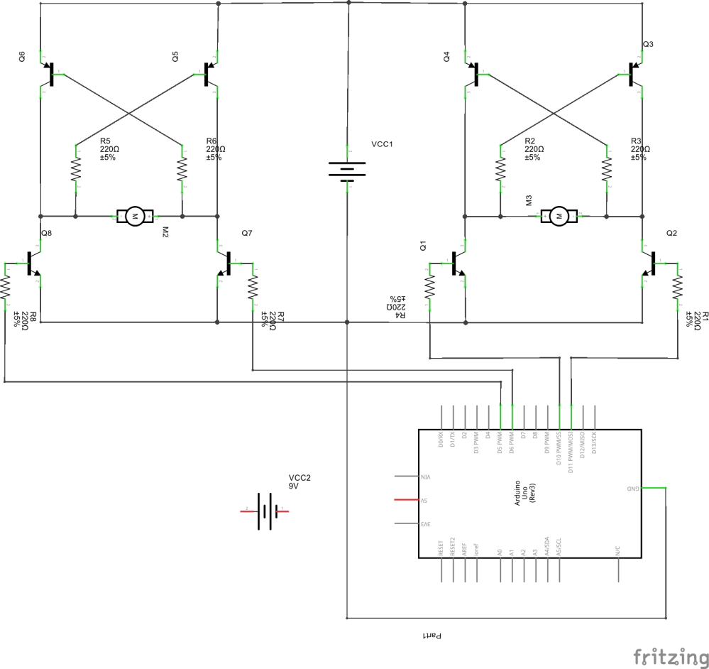 medium resolution of schematic of two h bridges controlled by arduino