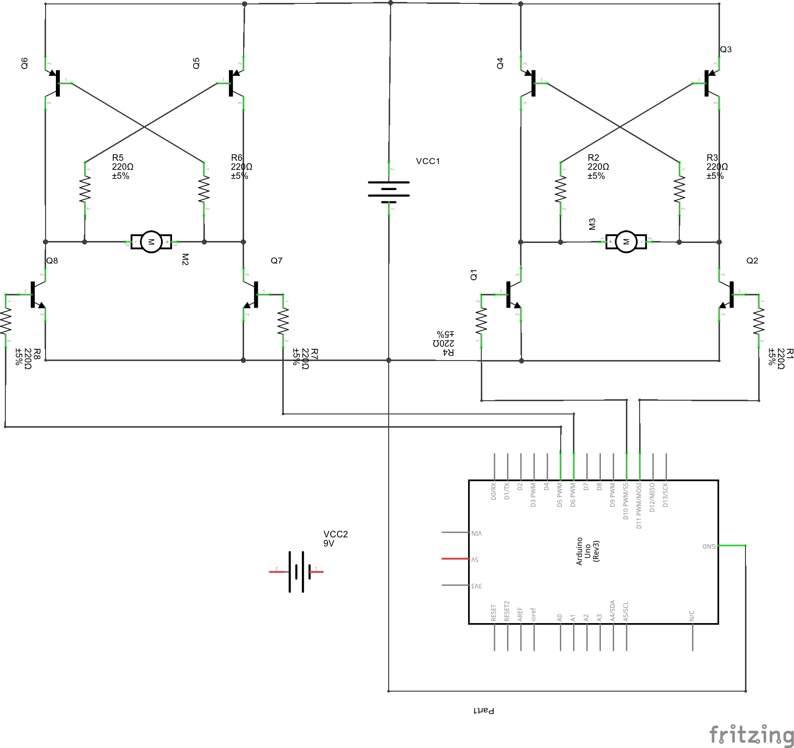 hight resolution of schematic of two h bridges controlled by arduino