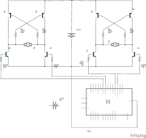 small resolution of schematic of two h bridges controlled by arduino