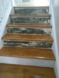 repair - How to cover old stair risers? - Home Improvement ...