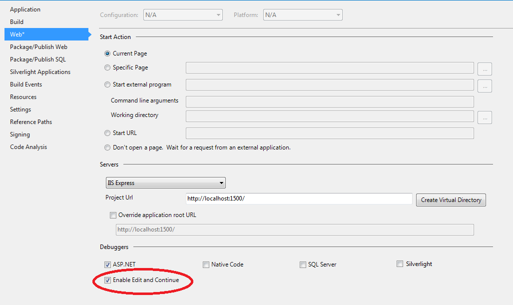 edit and continue option vs2013