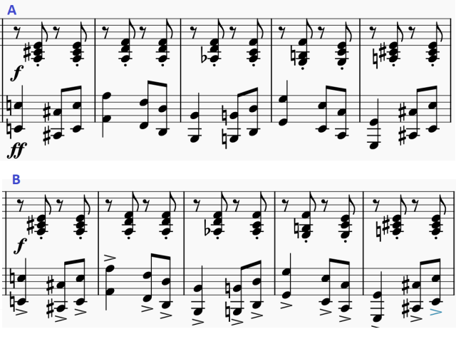 What is more proper notation in piano sheet music to denote that