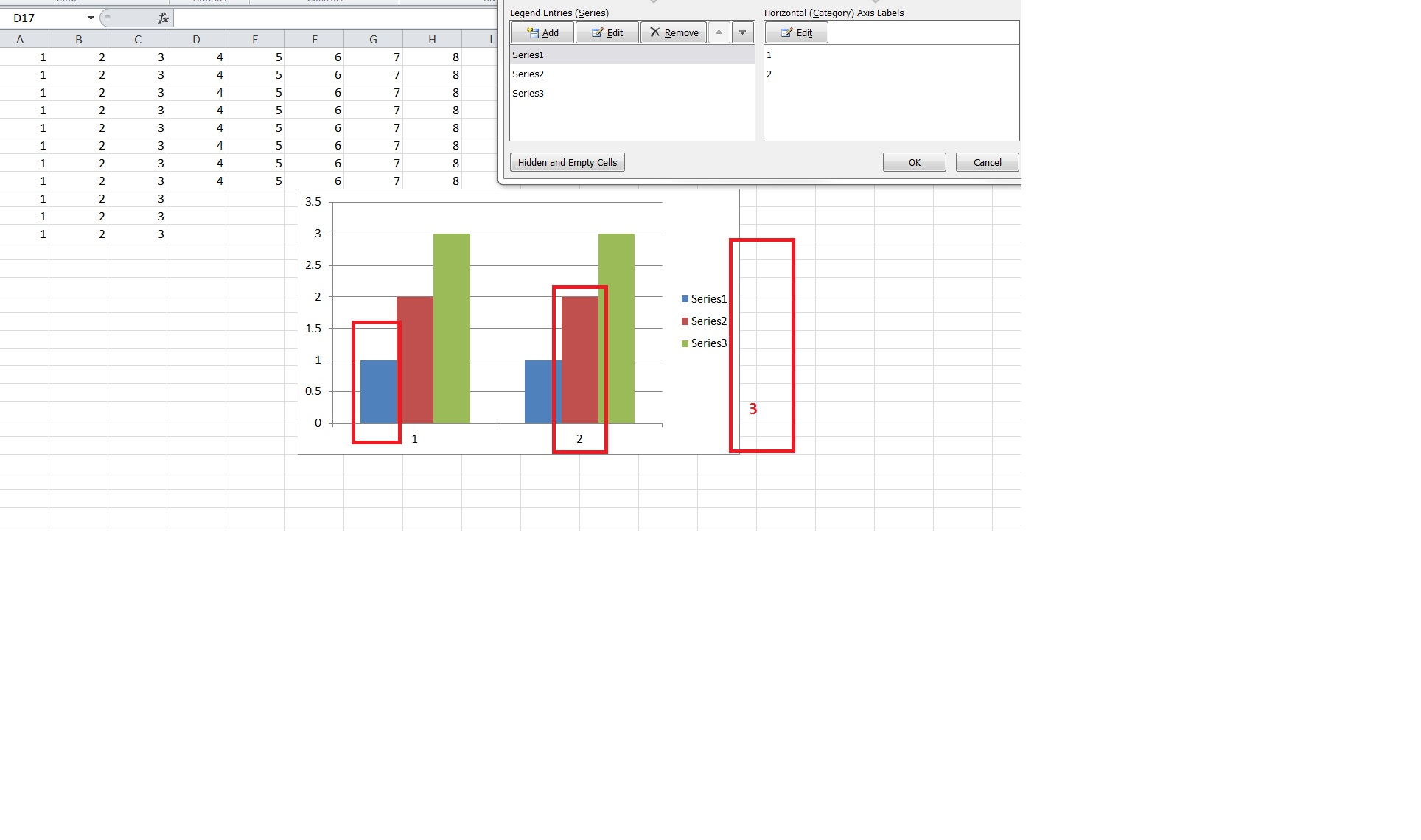 Vba Excel Edit Add Series And Horizontal Axis Labels