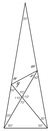 A simple euclidean geometry problem of angles of a