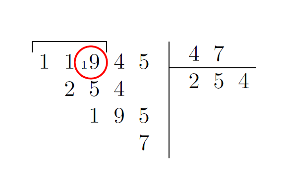How to place carried numbers in the French division