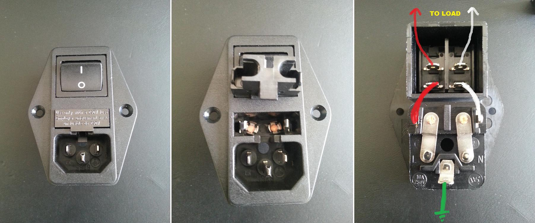 hight resolution of ac why is this switched power inlet fused on both load and neutral 125vac power inlet receptacle wiring inlet ac