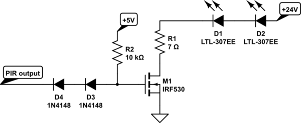 PIR sensor 3.3V output driving a mosfet loaded with 24V