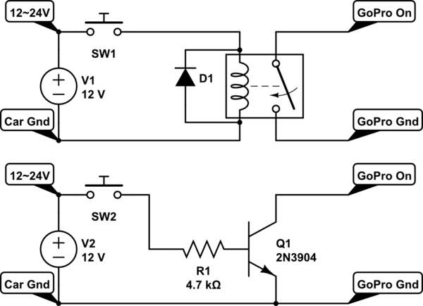 Power on GoPro (5V) with 10-24V using transistor or relay
