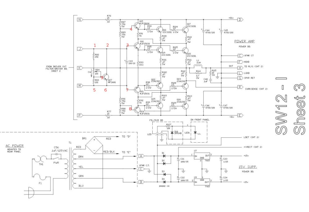 medium resolution of schematic power amp section of sw 12