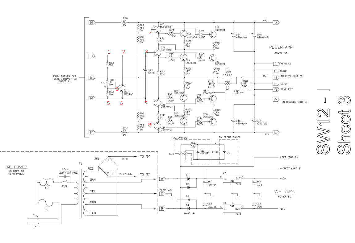 hight resolution of schematic power amp section of sw 12