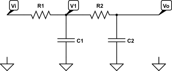 Frequency response of 2nd order RC low-pass filter