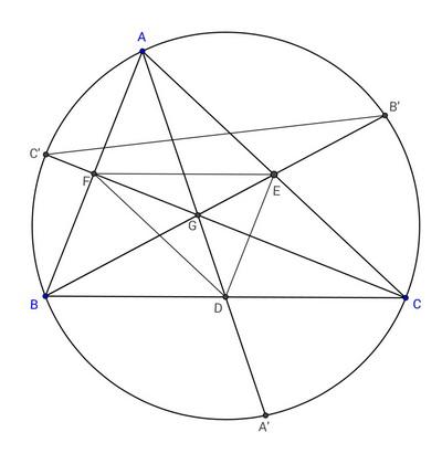 Geometry : $\frac{GA}{GA'}+\frac{GB}{GB'}+\frac{GC}{GC'}=3