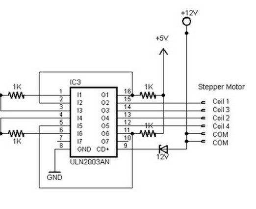 stepper motor driver circuit diagram using uln2003