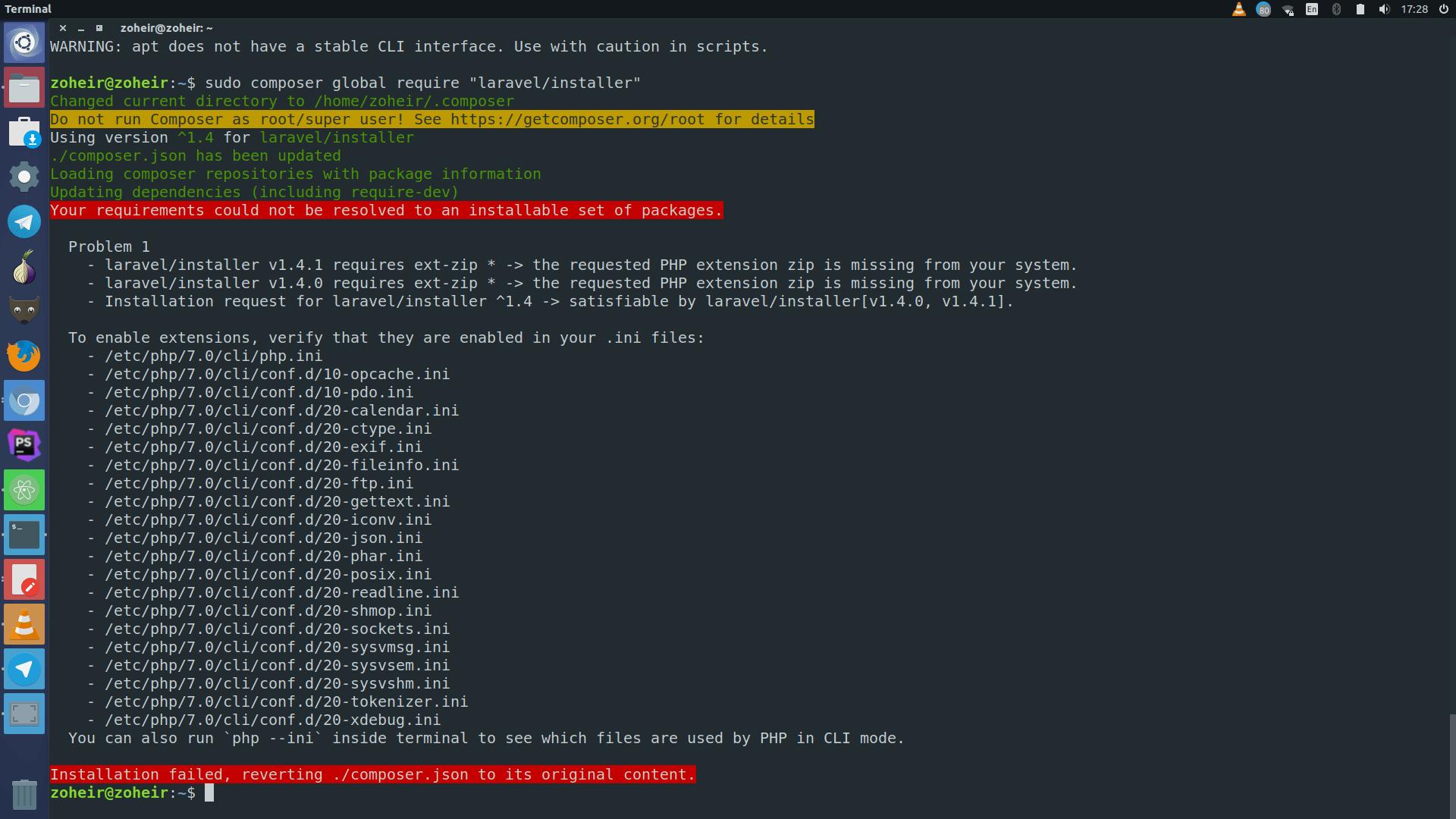 php  How do I fix this error installing Laravel  Ask Ubuntu
