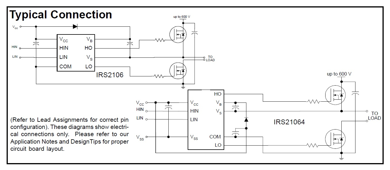 hight resolution of irs2106 high and low side driver