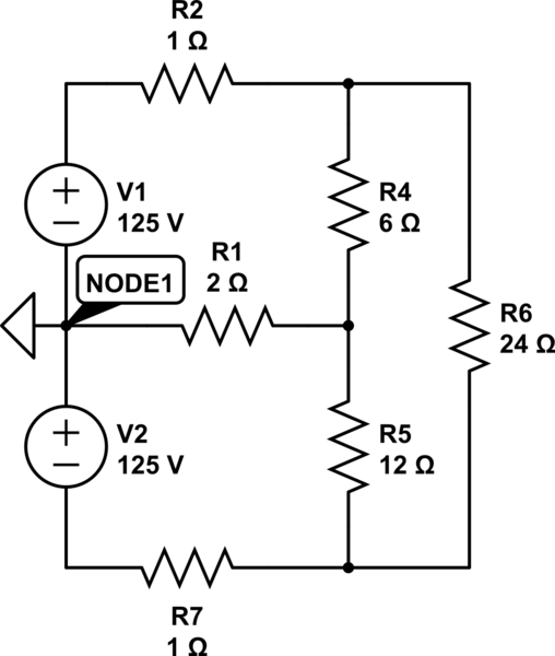 What is the voltage at a node between two series voltage