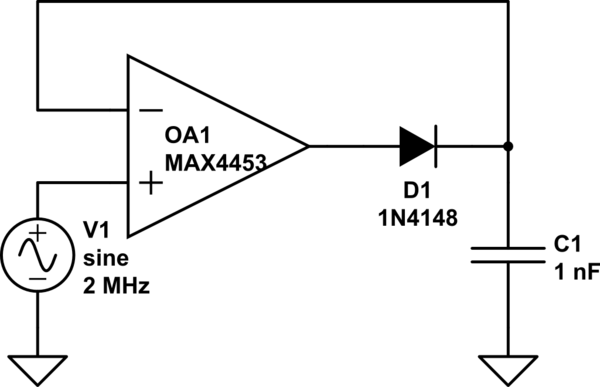 circuitlab precision active peak detector